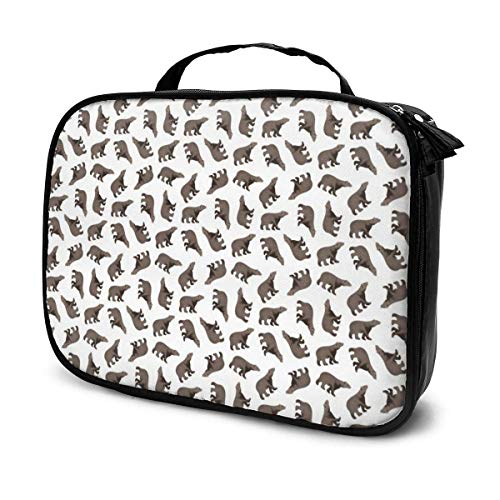 Simple Bear Pattern Eyeball Travel Cosmetic Case, Large Capacity Portable Organizer Makeup Bag Artist Storage Bag Toiletry Jewelry Digital Accessories