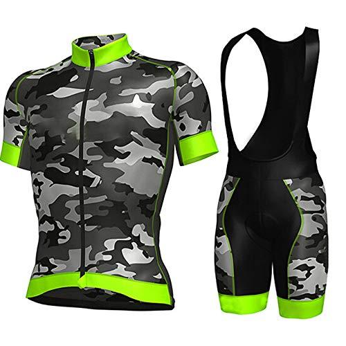 Maillot De Ciclismo Conjunto Para Hombre,Verde Diseño De Camuflaje Road Riding Mtb...