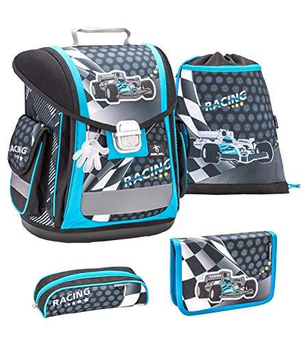 Belmil ergonomischer Schulranzen Groß Set 4-teilig für Jungen 1, 2, 3, Klasse/Leicht: 950-1000 g/Rennauto, Racing Car/Blau, Blue (404-5 Racing)