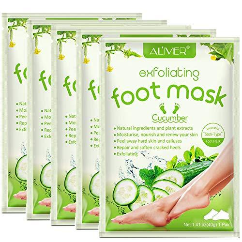 FußMaske Hornhaut Socken, 5 Paar fussmaske Fußpeeling Maske, Hornhautentferner Socken Repariert Raue Fersen Baby Feet in 2-7 Tagen für Frauen & Männer