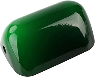 Newrays Mini Small Size Glass Bankers Lamp Shade Cover Replacement,L15cm W9.5cm (Green)
