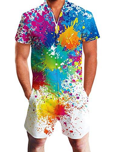 Goodstoworld Herren 3D Druck Sommer Jumpsuit Zipper Kurz Anzug Gay Overall Onesie Strampler Paint Splash XL