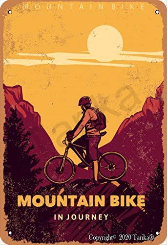 Wandschild mit Mountainbike in Journey, Vintage-Stil, Eisen, 20 x 30 cm, Dekoration für Zuhause, Küche, Badezimmer, Bauernhof, Garten, Garage, inspirierende Zitate