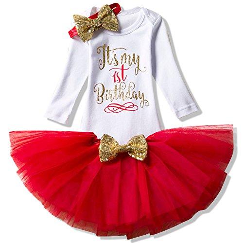 NNJXD Mädchen Neugeborene Es ist Mein 1. Geburtstag 3 Stück Outfits Strampler + Rock + Stirnband Größe (1) 1 Jahre Rot 1