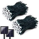 Yooyg 2 piezas de luces blancas de cadena solar, 200 luces LED de...