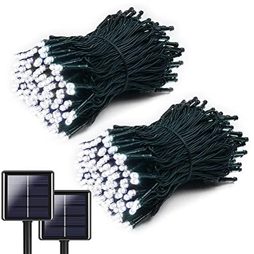 WBTY Cadena de luces solares, 2 piezas de 82 pies 200 LED de alambre impermeable luces solares decorativas al aire libre 8 modos luces de hadas para jardín, patio, fiesta, boda