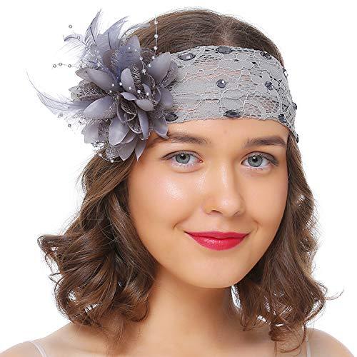 Serre-tête à paillettes Coucoland 1920s pour femme Style années 20 charleston Gatsby costume carnaval - Gris - Taille unique