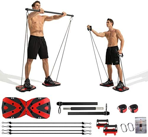 Portable Home Gym with Heavy Resistance Bands bar Set Ab Roller Wheel Pulleys and More Full product image