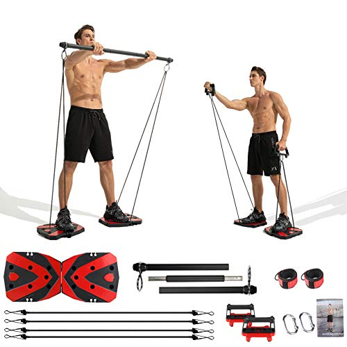 Portable Home Gym with Heavy Resistance Bands Ab Roller Wheel Pulleys and More Full-Body Workout...