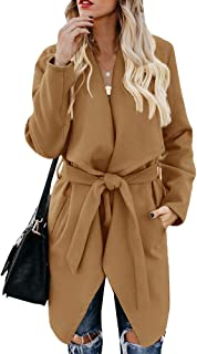 Foshow Women's Wool Blend Coat Wrap Lapel Belted Pea Overcoat Casual Long Sleeve Trench Outwear Jacket with Pockets
