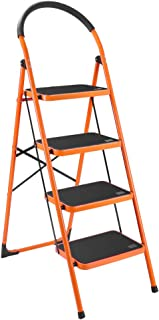 LUISLADDERS 4 Step Ladder Folding Portable Space Saving Lightweight Ladders with Sturdy Steel and Anti-Slip Wide Pedal Multi-Use for Household Market Office (330 Lb)