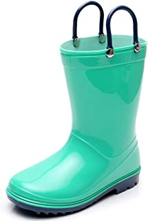 Girl Rain Boots Toddler Kids Lightweight Cute Waterproof Raining Shoes with Easy-on Handles Solid Color Rain Boots for Little Boys & Girls