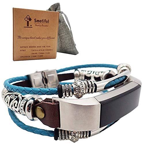 Smatiful Alta De Imitación Antigüedades Correa,Adjustable Wristband para Fitbit Alta,Special Edition,Mediterráneo Azul