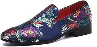 CAIFENG Conduite de Mocassins for Hommes Chaussures à Pied Slip sur Satin Tige Pointu oie Chinoise Broderie Chinoise Motif...
