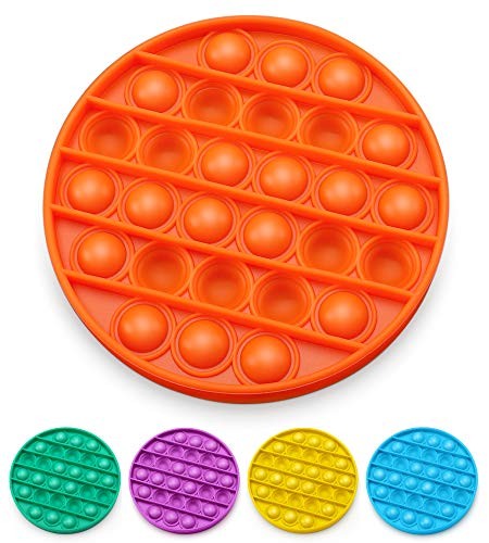 AnanBros Push Pop Bubble Fidget Sensory Toy, Pop Pop Fidget Toy Gifts for Boys and Girls, Stress Relief and Anti-Anxiety Tools for Kids and Adult(Orange Round)