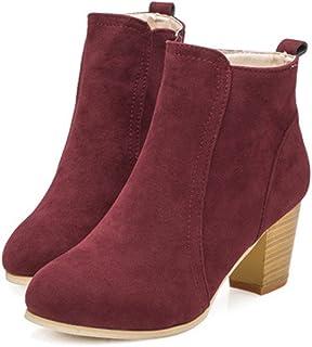 a4386eb7 Beladla Zapatos De Mujer Botines Cortos Cabeza Redonda TalóN Grueso TacóN  Alto Femenino Botas Navidad Invierno