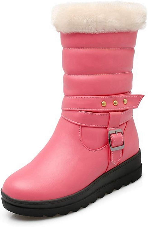 Fashion shoesbox Women's Waterproof Snow Boot Winter Warm Fur Lightweight Cold Weather Slip On Walking Mid Claf Platform Outdoor Boots