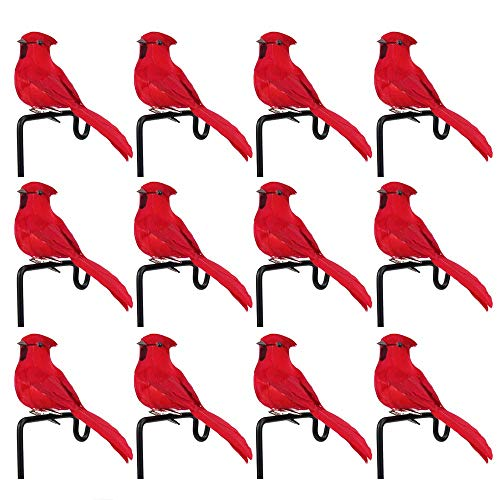 YXZQ 12pcs Artificial Feather Birds Simulation Foam Bird Love Birds for Craft Home Ornaments Red Bird Wedding Decoration Embellishing Party Accessories