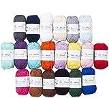 20 Skein 100% Mercerized Cotton Mini Yarn, Total 17.6 Oz Each 0.88 Oz (25g) / 73.2 Yrds (67m)