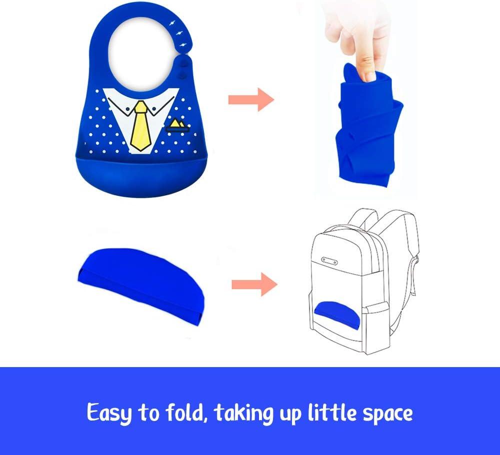 Baberos de Beb/é de Silicona Impermeable Babero impermeable de silicona que se limpia f/ácilmente C/ómodos baberos flexible que evitan las manchas Corbata de mo/ño//Traje de moda
