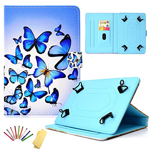 Uliking Universal Case for 7.5-8.5 inch Tablet, Slim PU Leather Stand Card Cover for 7.9' 8.0' 8.5' Fire HD 8,Galaxy Tab E 8.0/Tab A 8.0/Tab S2 8.0, iPad Mini 1/2/3/4 & Other Tablets, Blue Butterfly