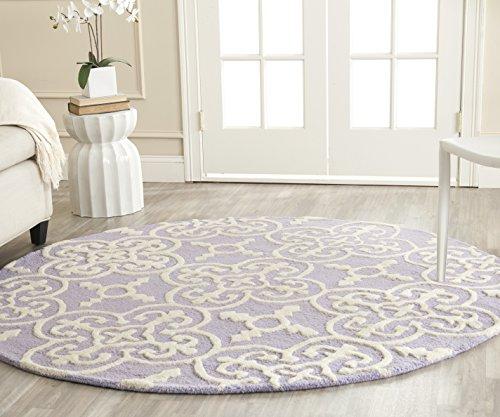 Safavieh Cambridge Collection CAM133C Handmade Moroccan Premium Wool Area Rug, 6' x 6' Round, Lavender / Ivory
