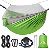 HULOSAN Camping Hammock with Mosquito Net, Portable Hammock with 2 Tree Straps 2 Carabiners, Lightweight Nylon Parachute Hammock for Camping Travel Hiking Backpacking, Beach, Patio (Green + Gray)