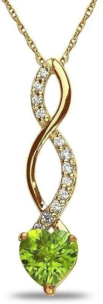 Royal Jewelz Lab Created 6.00MM Gemstone Birthstone Heart and Diamond Accent Necklace Pendant Charm 10k White OR Yellow Or Rose/Pink Gold 18 inch 10k Gold Chain (Choose your Birthstone)
