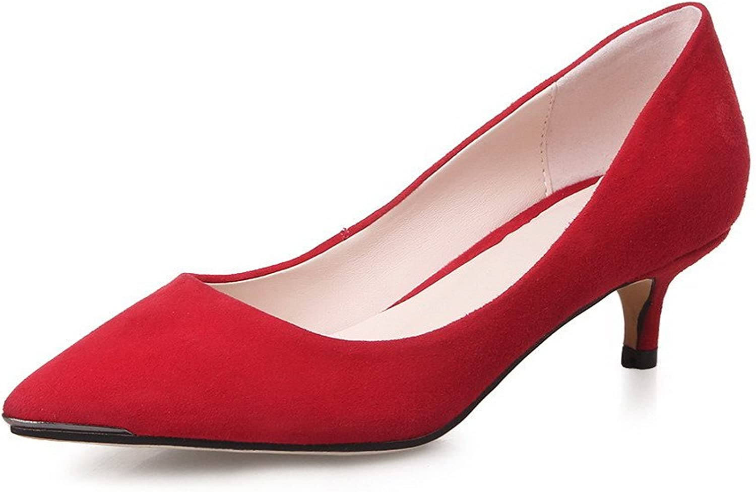 AllhqFashion Women's Pull On Sheepskin Pointed Closed Toe Kitten Heels Solid Pumps shoes