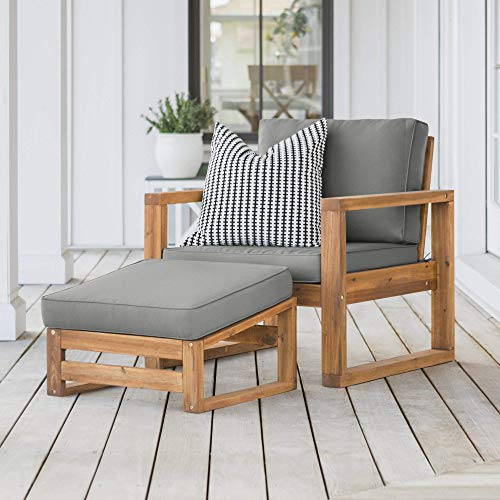 Walker Edison Sorrento Modern Acacia Wood Outdoor Side Chair and...