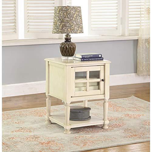 Best Master Furniture Antique-Finish Poplar Hardwood w/Glass Door End Table Beige