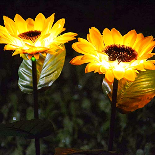 2 Pack Sunflower Solar Stake Garden Lights, Landscape Lights Outdoor Garden Decorative Pathway Lights, Waterproof Solar Powered Light for Outdoor Backyard Pathway Patio Porch Walkway