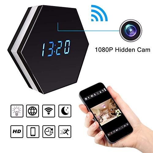 Balscw-J Mini cámara Reloj HD 1080P Wi-Fi Inteligente LED luz Reloj Espejo con visión Nocturna de Dos vías Audio detección de Movimiento Colorido