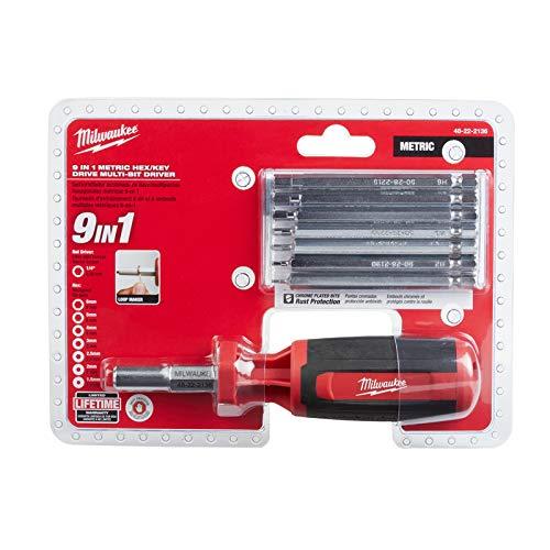 Milwaukee Metric Hex Key 9-in-1 Multi Magnetic Bit Screw Driver 9 Inch.
