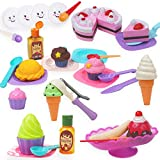 Deluxe Ice Cream Set Includes: 6 Slices of Cake, Banana Split Dish, Banana, 3 Large Ice Cream Scoops, 3 Ice Cream Scoops, 2 Bottles of Syrup, 3 Ice Cream Icings, 3 Ice Cream Cones, 2 Cupcakes, 4 Round Plates, 4 Square Plates, 4 Serving Sets (4 Forks,...