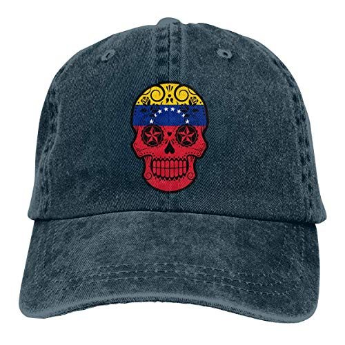N/A Sombrero De Sol,Ocio Sombrero,Sombrero De Deporte,Dad Hat,Sombreros Sombrilla Al,Venezuela Flag Sugar Skull-1 Denim Jeanet Gorra De Béisbol Ajustable Dad Hat