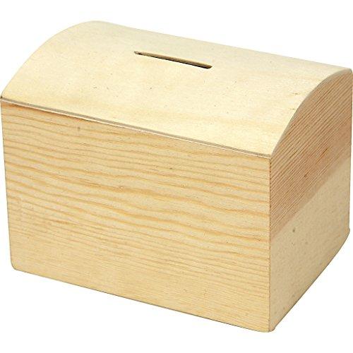 Creativ - Hucha de madera con parte superior curvada y fondo extraíble
