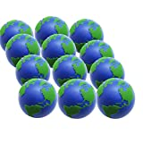 12Pcs World Stress Ball Earth Foam Squeeze Ball Squishy Stress Relief Global Balls Tension Release Squeeze Ball Stress Relief Fun Toys Squeeze Bouncy Balls Pressure Relieving Balls for Kids & Adults