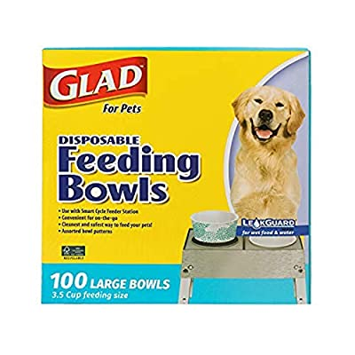 Glad for Pets Disposable Feeding Bowls | Large Disposable Dog Bowls | Made from Recyclable Material in Teal Pattern | 3.5 Cup Feeding Size, 100 Count, Assorted (FF11351)
