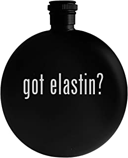 got elastin? - 5oz Round Alcohol Drinking Flask, Black