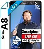 [2 Stück] 3D Schutzfolien kompatibel mit Samsung Galaxy A8 - [Made in Germany - TÜV Nord] – HD Bildschirmschutz-Folie - Hüllenfre&lich – Transparent – kein Schutz-Glas sondern Panzer-Folie TPU