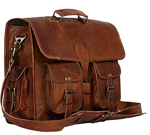 Leather Briefcase Laptop Bag Messenger Satchel 16 Inch Best Handmade Leather Bag (11 Inches)