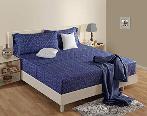 LINENWALAS 100% Organic Cotton Percale Bed Pattern Sheets Set 4PC - Soft Luxurious Cotton Bedding (King, Navy Blue Frette)