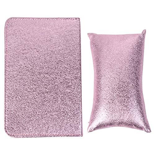 Lurrose 2 Pcs Nail Art Main Oreiller Repose-Bras Support Pad PU Cuir Repose-Main Coussin Pliable Support de Bras pour Manucure Soins Accessoires Violet