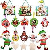 16 Piezas de Adornos de Imagen de Navidad Marcos de Fotos de Recuerdo de Arte Navideños Marco de Adorno Colgante de Madera para Bricolaje de Hogar Decoración de Santa Árbol de Navidad Muñeco de Nieve