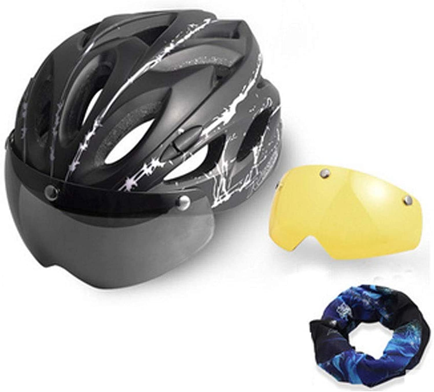 Hengxiang Airflow Bike Helmet, with inMold Reinforcement Skeleton, Added Predection, Suitable for 5762cm Head Circumference, Gift Night Vision Lenses, Headscarf