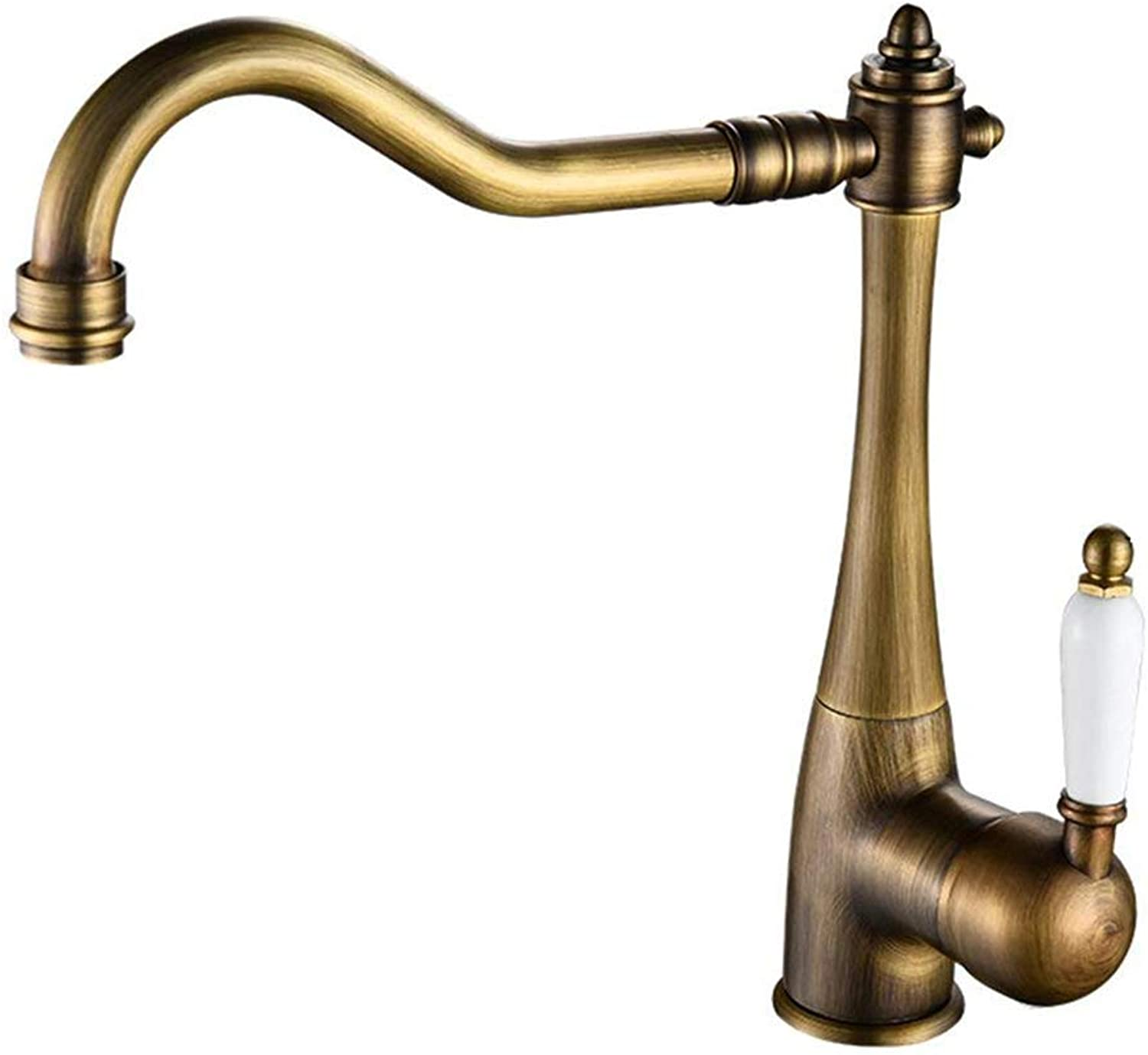 Nostalgia Kitchen Water Tap Country House Kitchen Tap, Sink Tap Single Lever Mixer Tap, Sink Tap with Ceramic Handles Made of Brass, 360 Degree redation