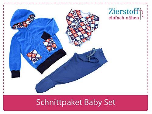 3 Papierschnittmuster zum Nähen von Babykleidung - Das Baby Set beinhaltet einen Body, eine Hose und eine Jacke für Babys und Kleinkinder von Gr. 50-74