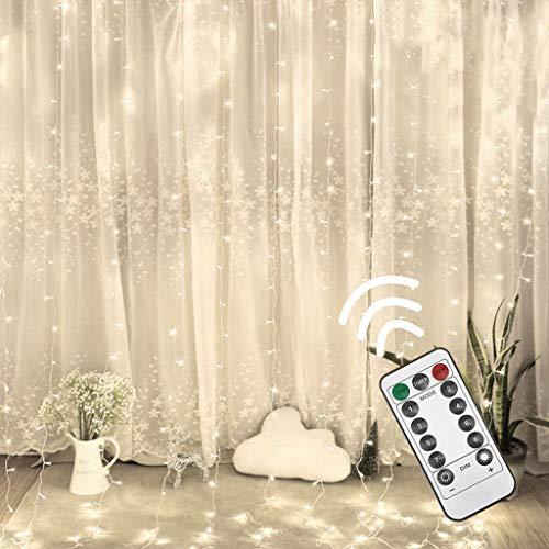 300 Led Deko Lichterkette USB Lichtervorhang Kupferdrahtschnur Fernbedienung Super GroßEr Lichtvorhang Lichterkettenvorhang Vorhang Lichterkette Lichtmodelle Für Partydekoration