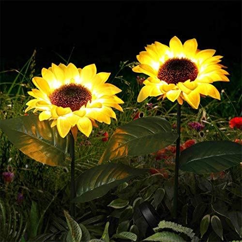 DogensHonz Luz Solar de Girasol Leds Lámpara de césped Luces de Linterna al Aire Libre para lámparas de Paisaje de jardín Blanco cálido 4 Piezas